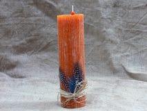 πορτοκαλί κερί κεριών Στοκ Φωτογραφία