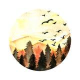 Πορτοκαλί κομψό τοπίο δασών, πουλιών και βουνών Στοκ Φωτογραφία