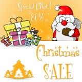 Πορτοκαλί πρότυπο πώλησης Άγιου Βασίλη Χριστουγέννων Στοκ Εικόνα