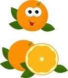 Πορτοκαλί σύνολο και φέτα του πορτοκαλιού με τα πορτοκαλιά φύλλα Απεικόνιση ράστερ των πορτοκαλιών Λατρευτός πορτοκαλής χαρακτήρα διανυσματική απεικόνιση