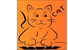 Πορτοκαλί υπόβαθρο με τη χαριτωμένη γάτα Στοκ φωτογραφίες με δικαίωμα ελεύθερης χρήσης