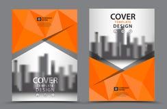 Πορτοκαλί χρώμα σχεδίου με το πρότυπο σχεδίου κάλυψης επιχειρησιακών βιβλίων υποβάθρου πόλεων A4 Στοκ Εικόνα