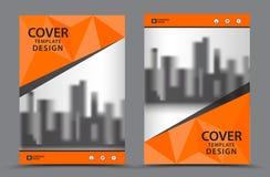 Πορτοκαλί χρώμα σχεδίου με το πρότυπο σχεδίου κάλυψης επιχειρησιακών βιβλίων υποβάθρου πόλεων A4 Στοκ εικόνες με δικαίωμα ελεύθερης χρήσης