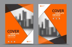 Πορτοκαλί χρώμα σχεδίου με το πρότυπο σχεδίου κάλυψης επιχειρησιακών βιβλίων υποβάθρου πόλεων A4 Ετήσια έκθεση Στοκ Εικόνες