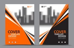 Πορτοκαλί χρώμα σχεδίου με το πρότυπο σχεδίου κάλυψης επιχειρησιακών βιβλίων υποβάθρου πόλεων A4 Σχεδιάγραμμα ιπτάμενων φυλλάδιων Στοκ Εικόνα
