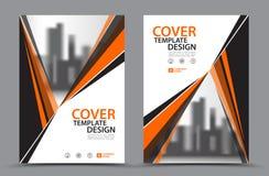Πορτοκαλί χρώμα σχεδίου με το πρότυπο σχεδίου κάλυψης επιχειρησιακών βιβλίων υποβάθρου πόλεων A4 Σχεδιάγραμμα ιπτάμενων φυλλάδιων Στοκ Φωτογραφίες