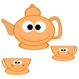 πορτοκαλί teapot φλυτζανιών Στοκ Φωτογραφίες