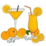 Πορτοκαλιά αναψυκτικά στα γυαλιά με τον πάγο και το άχυρο διανυσματική απεικόνιση