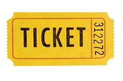 Πορτοκαλιά αποδοχή ένα απομονωμένο εισιτήριο λευκό εισόδων στοκ φωτογραφίες
