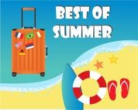 Πορτοκαλιά βαλίτσα για το ταξίδι και την αυτοκόλλητη ετικέττα εθνικών σημαιών διανυσματική απεικόνιση