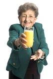 πορτοκαλιά γυναίκα χυμ&omicro στοκ εικόνες