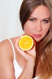 πορτοκαλιά γυναίκα στοκ εικόνα