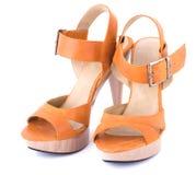 Πορτοκαλιά γυναικεία ` παπούτσια Στοκ εικόνες με δικαίωμα ελεύθερης χρήσης