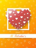 Πορτοκαλιά ευχετήρια κάρτα βαλεντίνων του ST, μεγάλη καρδιά, διάνυσμα ελεύθερη απεικόνιση δικαιώματος
