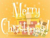 Πορτοκαλιά ευχετήρια κάρτα χριστουγεννιάτικων δώρων διανυσματική απεικόνιση
