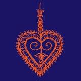 Πορτοκαλιά ινδική henna σχεδίων tracery καρδιά στο βαθύ μπλε υπόβαθρο διανυσματική απεικόνιση