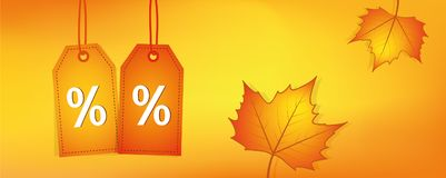 Πορτοκαλιά κίτρινα φύλλα φθινοπώρου εμβλημάτων πωλήσεων Στοκ Εικόνες