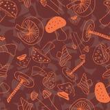 Πορτοκαλιά και πράσινα γραμμικά μανιτάρια απεικόνιση αποθεμάτων