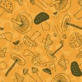 Πορτοκαλιά και πράσινα γραμμικά μανιτάρια διανυσματική απεικόνιση