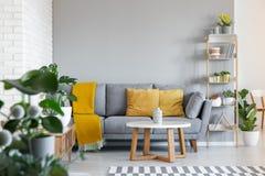 Πορτοκαλιά μαξιλάρια και κάλυμμα στον γκρίζο καναπέ στο εσωτερικό καθιστικών στοκ φωτογραφία με δικαίωμα ελεύθερης χρήσης