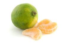 πορτοκαλιά τμήματα ασβέστ& Στοκ Εικόνες