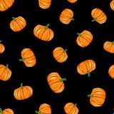 Πορτοκαλιές κολοκύθες με τον πράσινο μίσχο στο μαύρο υπόβαθρο ελεύθερη απεικόνιση δικαιώματος