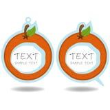 Πορτοκαλιές λεκτικές φυσαλίδα και τιμή   Στοκ Εικόνες