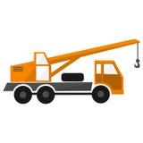 πορτοκαλής γερανός φορτηγών, αυτοκίνητο κατασκευής, βιομηχανικό βαρύ αυτοκίνητο, επίπεδη απεικόνιση οχημάτων, απεικόνιση αποθεμάτων