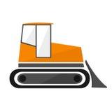 Πορτοκαλής εκσακαφέας στο επίπεδο τρακτέρ αντιολισθητικών αλυσίδων με έναν κάδο ελεύθερη απεικόνιση δικαιώματος