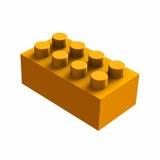 Πορτοκαλής κύβος lego για τα παιχνίδια Στοκ Εικόνες