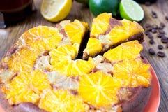 Πορτοκαλής ξινός, κέικ, επιδόρπιο Στοκ Εικόνες