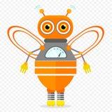 Πορτοκαλής φιλικός χαρακτήρας ρομπότ μελισσών κινούμενων σχεδίων Στοκ Εικόνες