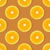 Πορτοκαλί άνευ ραφής σχέδιο φρούτων φετών Διανυσματικό υπόβαθρο εσπεριδοειδών Στοκ Εικόνες