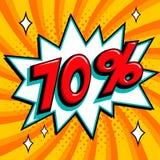Πορτοκαλί έμβλημα Ιστού πώλησης Λαϊκό έμβλημα προώθησης έκπτωσης πώλησης τέχνης κωμικό μεγάλη πώληση ανασκόπησης Πώληση 70 μακριά Στοκ φωτογραφία με δικαίωμα ελεύθερης χρήσης