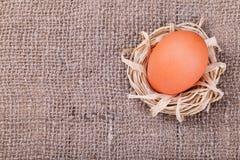 Πορτοκαλί αυγό burlap στο υπόβαθρο Στοκ εικόνες με δικαίωμα ελεύθερης χρήσης
