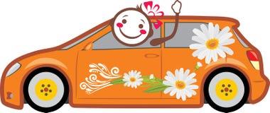 Πορτοκαλί αυτοκίνητο με τις μαργαρίτες Παράδοση διακοπών Στοκ Φωτογραφίες
