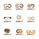 Πορτοκαλί και γκρίζο διανυσματικό καθορισμένο σχέδιο λογότυπων γυαλιών Στοκ εικόνες με δικαίωμα ελεύθερης χρήσης