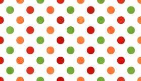 Πορτοκαλί, κόκκινο και πράσινο υπόβαθρο σημείων Πόλκα Watercolor Στοκ Εικόνα