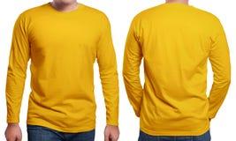 Πορτοκαλί μακρύ Sleeved πρότυπο σχεδίου πουκάμισων Στοκ εικόνα με δικαίωμα ελεύθερης χρήσης