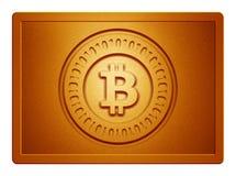 Πορτοκαλί μεταλλικό πιάτο Bitcoin Στοκ φωτογραφία με δικαίωμα ελεύθερης χρήσης