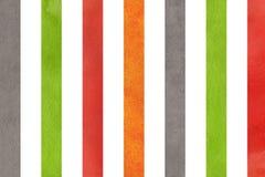 Πορτοκαλί, πράσινο, κόκκινο και γκρίζο ριγωτό υπόβαθρο Watercolor Στοκ Εικόνα