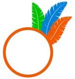 Πορτοκαλί πλαίσιο με τα φτερά που απομονώνεται στο λευκό διανυσματική απεικόνιση