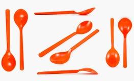Πορτοκαλί πλαστικό κουτάλι συλλογής που απομονώνεται στο άσπρο υπόβαθρο Στοκ Εικόνες