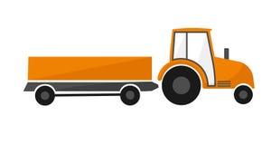Πορτοκαλί τρακτέρ με ένα ρυμουλκό γεωργικά μηχανήματα που seeder η άνοιξη απεικόνιση αποθεμάτων