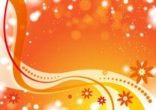 Πορτοκαλί υπόβαθρο κυμάτων με τα λουλούδια Στοκ Εικόνα