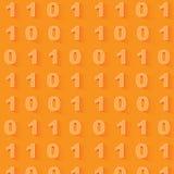 Πορτοκαλί υπόβαθρο δυαδικού κώδικα πρότυπο άνευ ραφής Στοκ Εικόνα