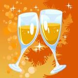 Πορτοκαλί υπόβαθρο Χριστουγέννων με δύο γυαλιά Στοκ φωτογραφίες με δικαίωμα ελεύθερης χρήσης