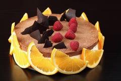 Πορτοκαλί Mousse σοκολάτας κέικ στοκ εικόνες