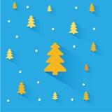 Πορτοκαλιά δέντρα Χριστουγέννων στο μπλε υπόβαθρο διανυσματική απεικόνιση