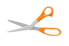 Πορτοκαλιά λαβή χρώματος ψαλιδιού γραφείων που απομονώνεται στο άσπρο υπόβαθρο στοκ εικόνα με δικαίωμα ελεύθερης χρήσης